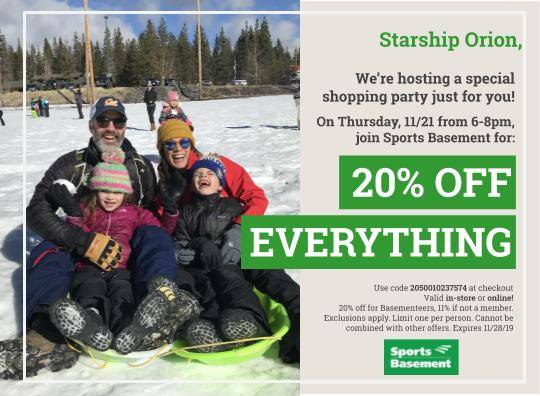 Sports Basement Shopping Part Fundraiser